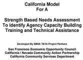 Strength Based Needs Assessment - California/Nevada Community Action Partnership in conjunction